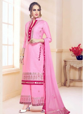 Cotton Satin Palazzo Straight Salwar Kameez For Ceremonial