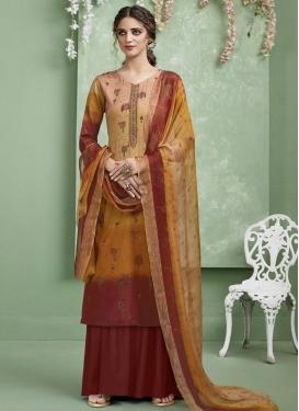 Cotton Satin Palazzo Style Pakistani Salwar Kameez For Casual