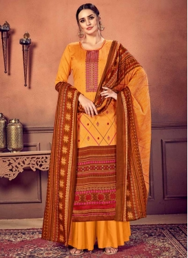 Cotton Satin Palazzo Style Pakistani Salwar Suit For Ceremonial