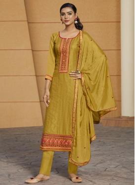 Cotton Satin Pant Style Pakistani Salwar Kameez For Casual