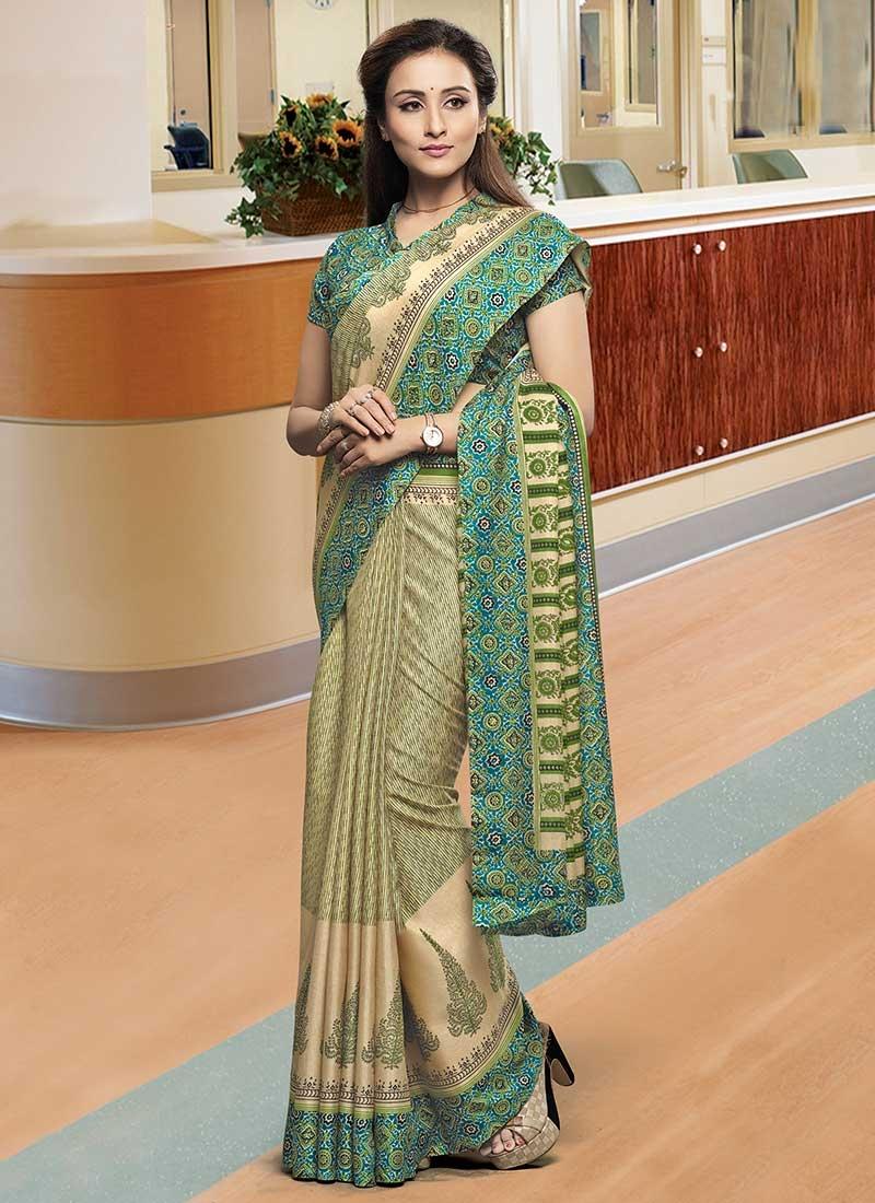 Cotton Satin Print Work Trendy Classic Saree