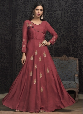 Cotton Satin Readymade Floor Length Gown