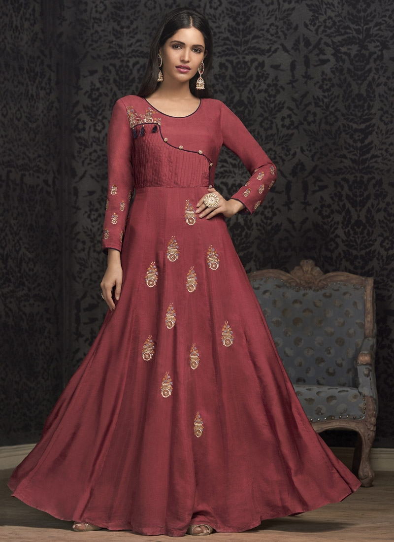 Cotton Satin Readymade Floor Length Gown
