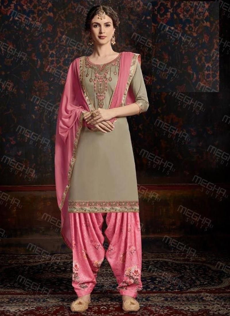Cotton Satin Trendy Patiala Salwar Kameez