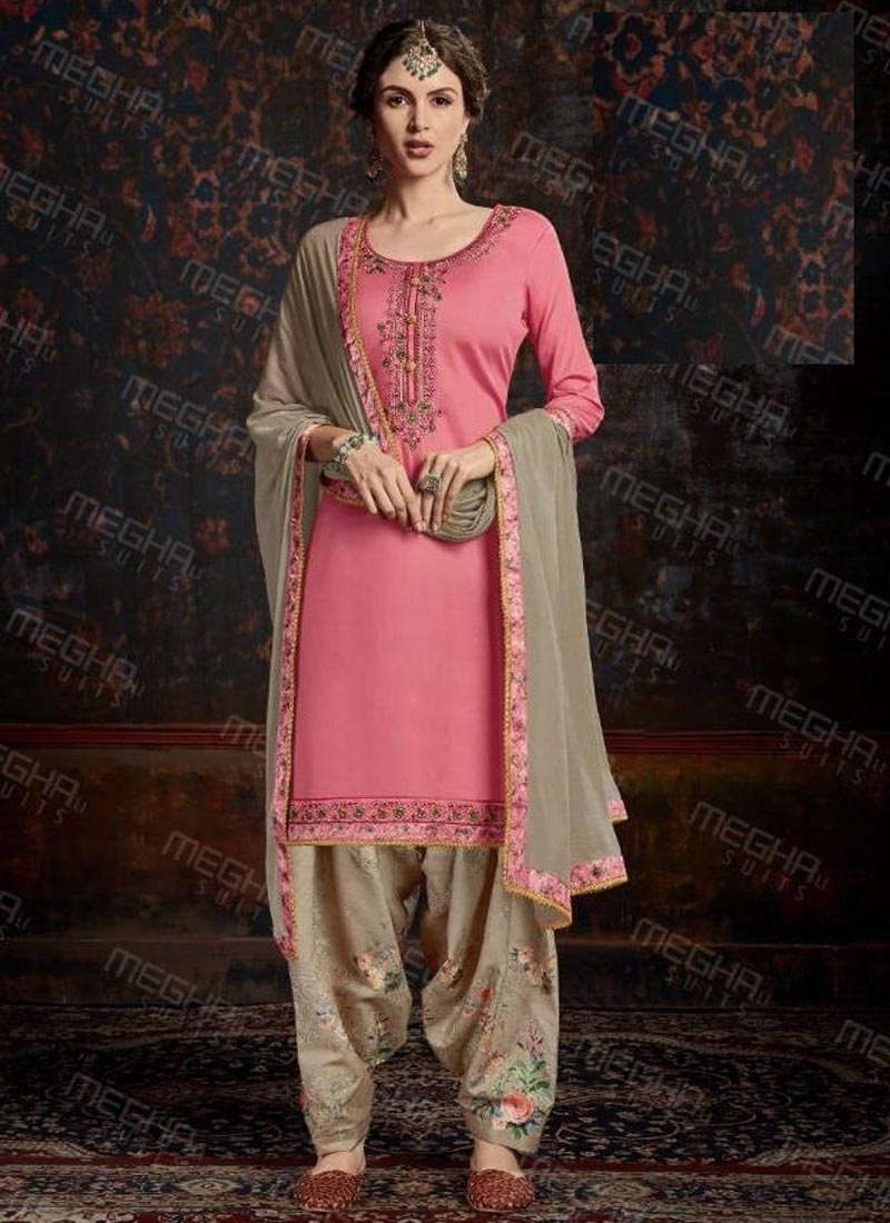 Cotton Satin Trendy Patiala Salwar Suit