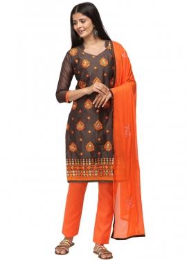 Coffee Brown and Orange Trendy Salwar Kameez
