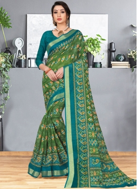 Cotton Silk Abstract Print Printed Saree