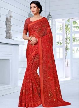 Cotton Silk Bandhej Print Work Designer Traditional Saree