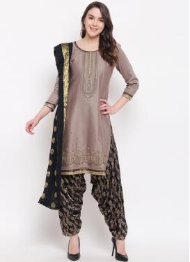 Cotton Silk Beige and Black Designer Semi Patiala Salwar Suit