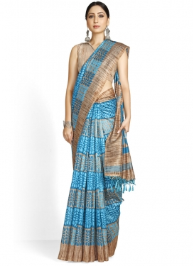 Cotton Silk Beige and Light Blue Designer Traditional Saree