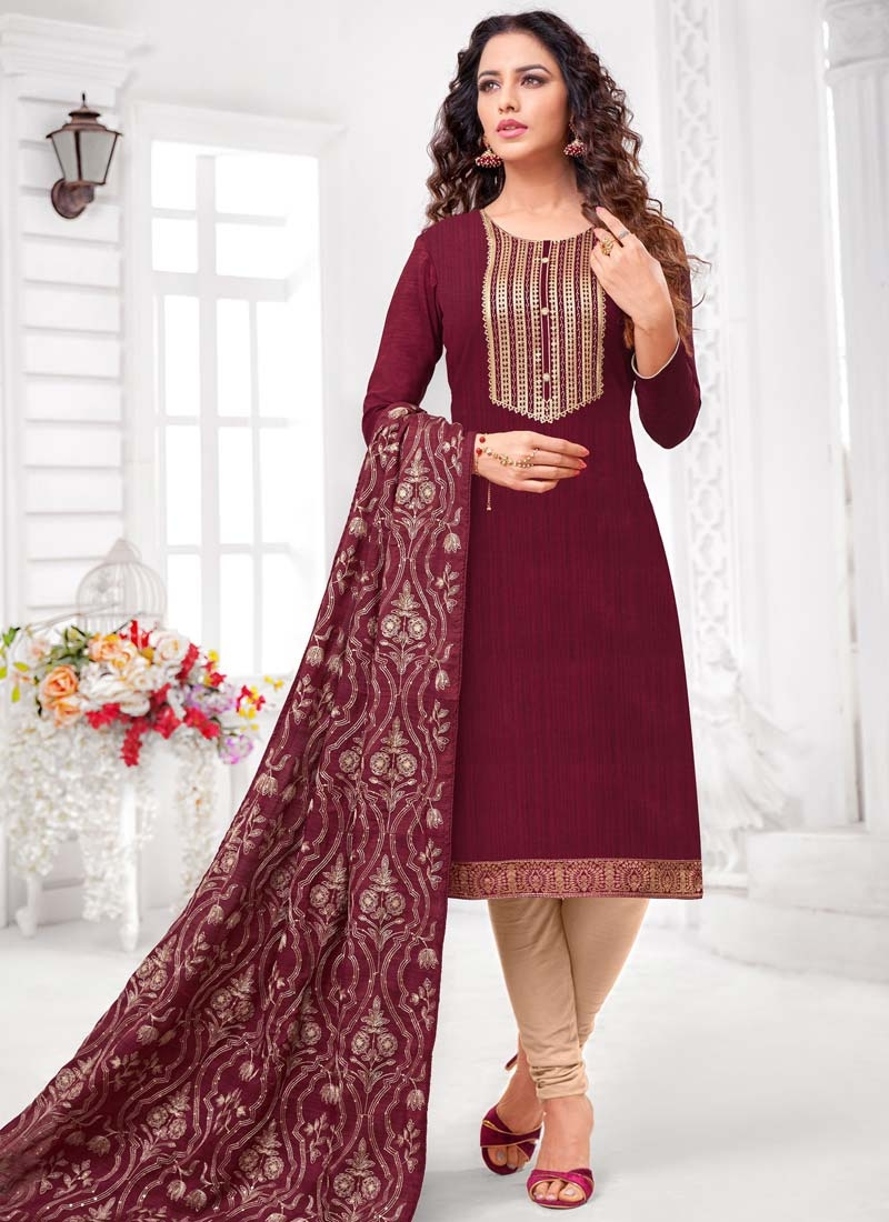 Cotton Silk Beige and Maroon Churidar Salwar Kameez