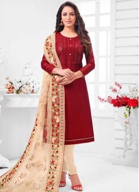 Cotton Silk Beige and Maroon Churidar Salwar Suit