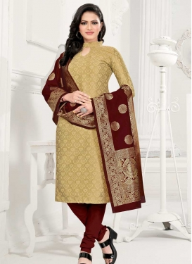 Cotton Silk Beige and Maroon Woven Work Trendy Churidar Salwar Suit