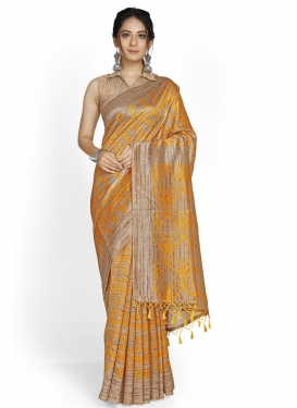 Cotton Silk Beige and Mustard Designer Contemporary Saree For Casual