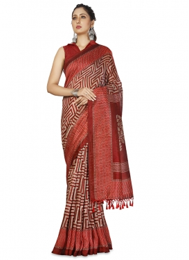 Cotton Silk Beige and Red Trendy Classic Saree