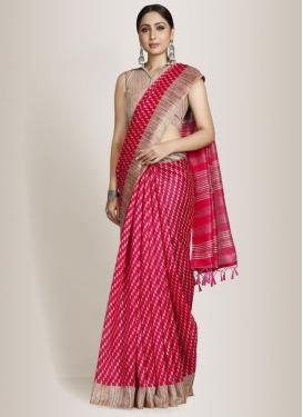 Cotton Silk Beige and Rose Pink Designer Traditional Saree