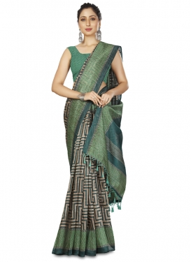 Cotton Silk Beige and Teal Woven Work Contemporary Style Saree