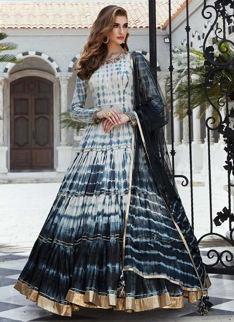 Cotton Silk Black and Off White Digital Print Work Readymade Designer Gown