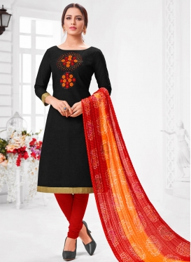 Cotton Silk Black and Red Beads Work Trendy Churidar Salwar Suit