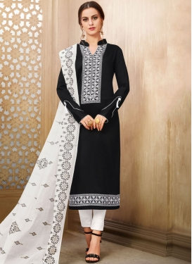 Cotton Silk Black and White Pant Style Salwar Suit