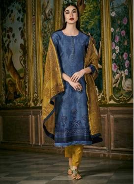 Cotton Silk Blue and Mustard Digital Print Work Readymade Salwar Kameez