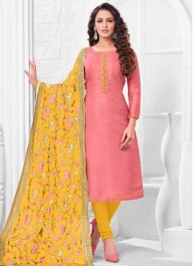 Cotton Silk Churidar Salwar Kameez For Casual