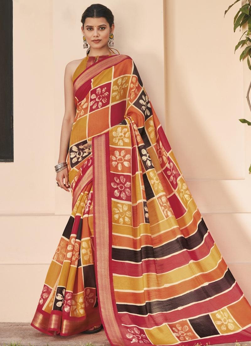 Cotton Silk Contemporary Style Saree For Casual