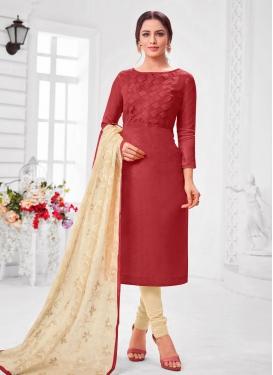 Cotton Silk Cream and Red Trendy Churidar Salwar Kameez