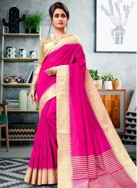 Cotton Silk Cream and Rose Pink Thread Work Traditional Designer Saree