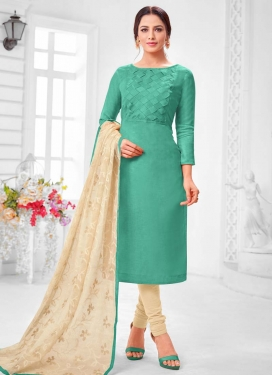 Cotton Silk Cream and Sea Green Thread Work Trendy Churidar Salwar Suit