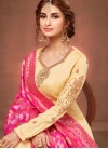 Cream Embroidered Churidar Salwar Suit - 1