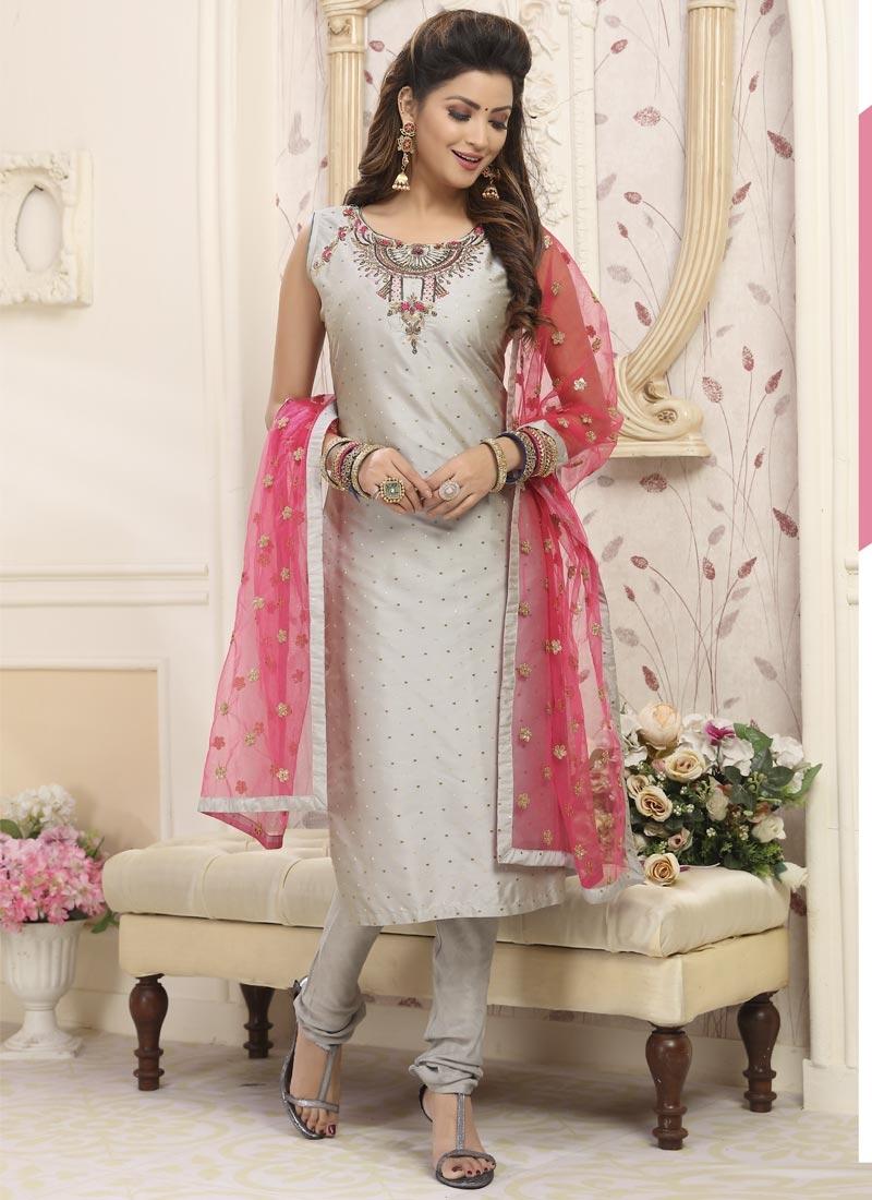 Cotton Silk Cutdana Work Readymade Churidar Salwar Kameez