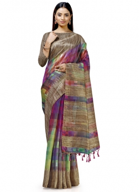 Cotton Silk Digital Print Work Contemporary Style Saree