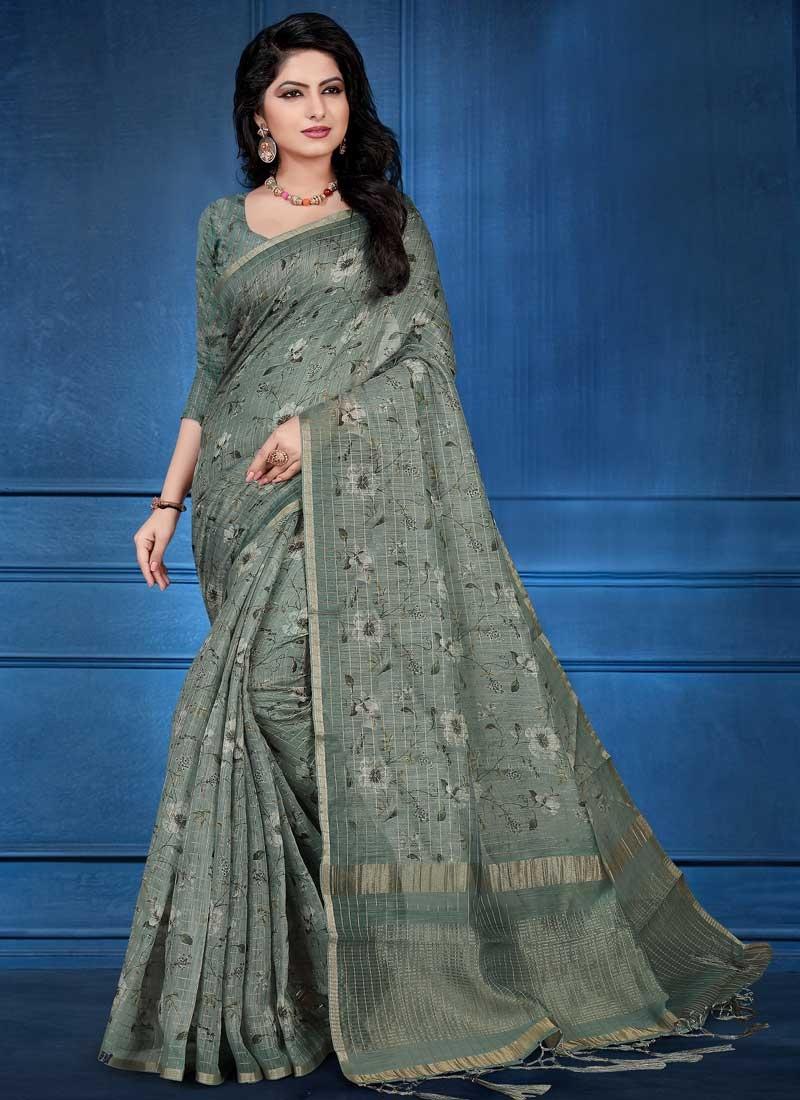Cotton Silk Digital Print Work Designer Traditional Saree