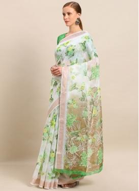 Cotton Silk Digital Print Work Green and White Designer Traditional Saree
