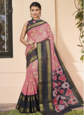 Cotton Silk Digital Print Work Grey and Salmon Trendy Classic Saree