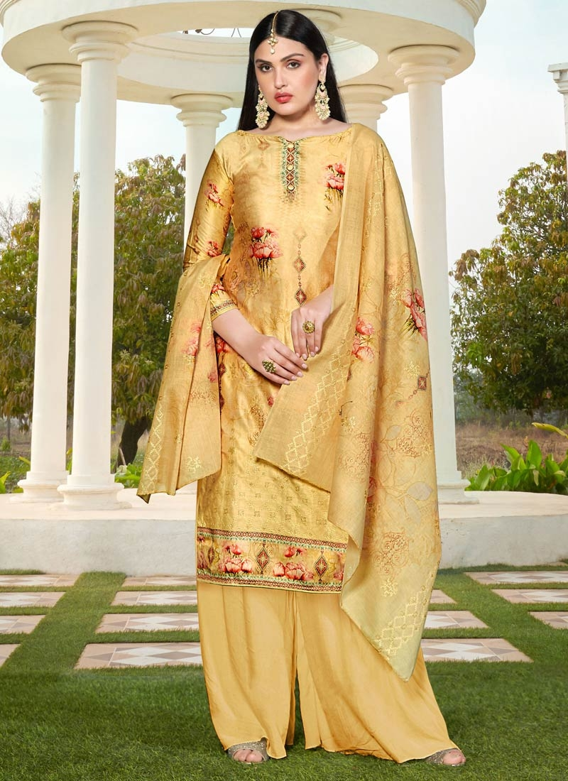 Cotton Silk Digital Print Work Palazzo Style Pakistani Salwar Kameez