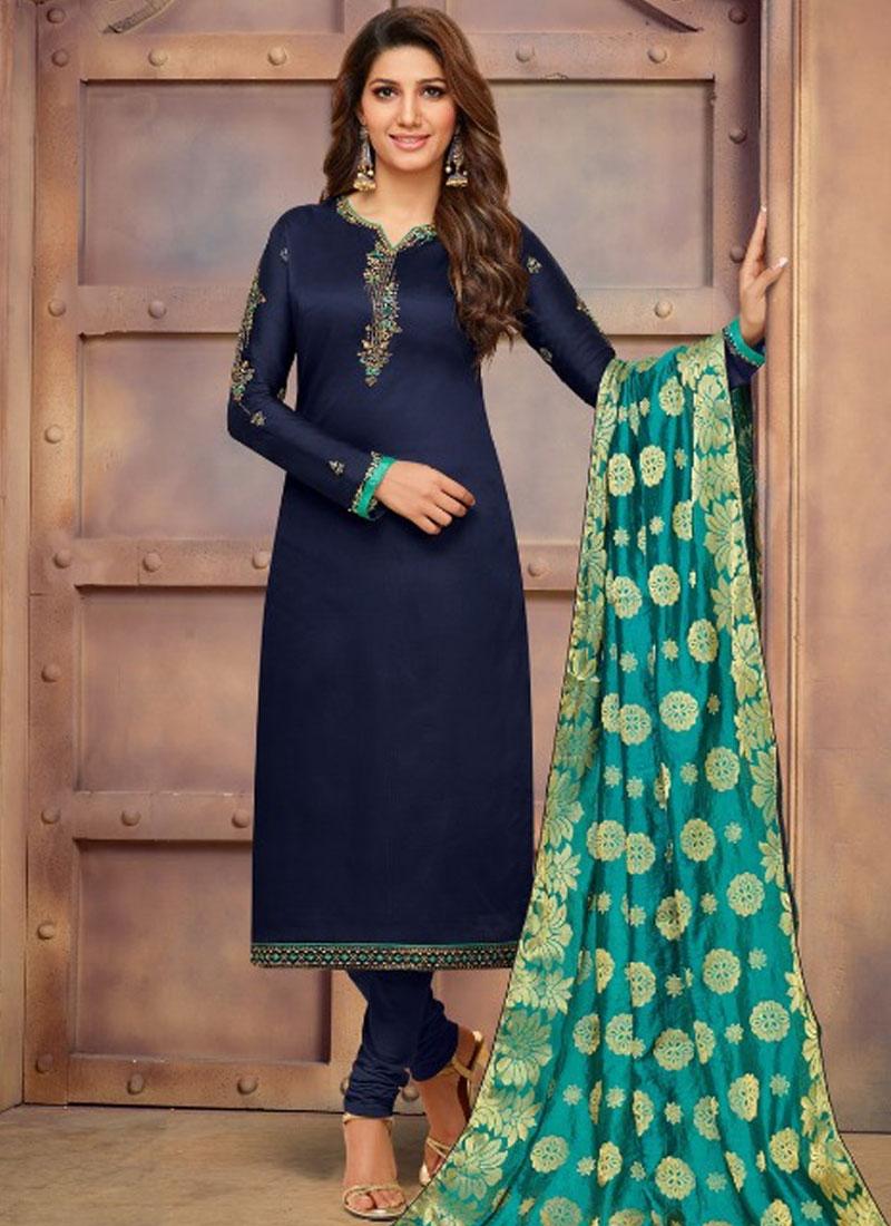 Cotton Silk Embroidered Navy Blue Churidar Suit