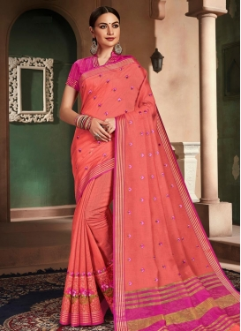 Cotton Silk Embroidered Work Designer Contemporary Style Saree