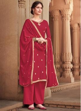 Cotton Silk Embroidered Work Palazzo Style Pakistani Salwar Kameez