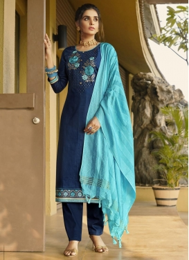 Cotton Silk Embroidered Work Pant Style Classic Suit