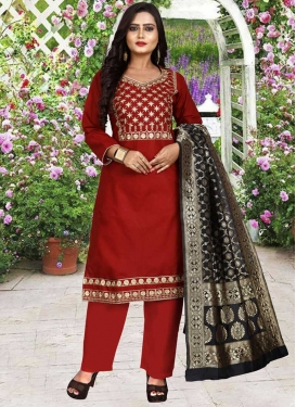 Cotton Silk Embroidered Work Pant Style Salwar Kameez