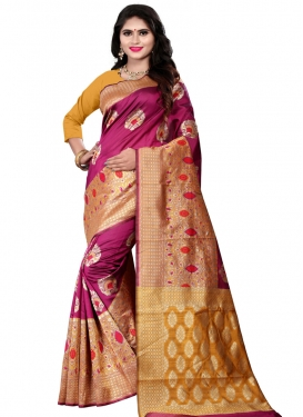 Cotton Silk Gold and Magenta Designer Contemporary Style Saree