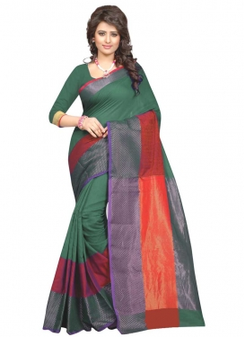 Cotton Silk Green and Red Designer Traditional Saree For Casual