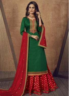 Cotton Silk Green and Red Embroidered Work Designer Kameez Style Lehenga Choli
