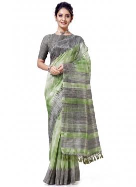 Cotton Silk Grey and Mint Green Designer Contemporary Saree