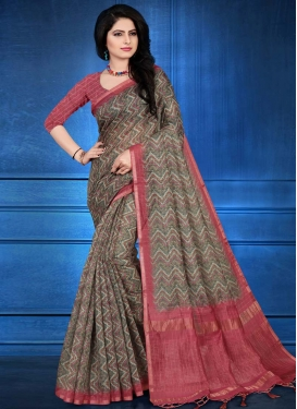 Cotton Silk Grey and Rose Pink Digital Print Work Designer Contemporary Saree