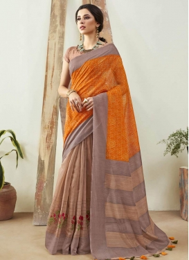 Cotton Silk Half N Half Designer Saree