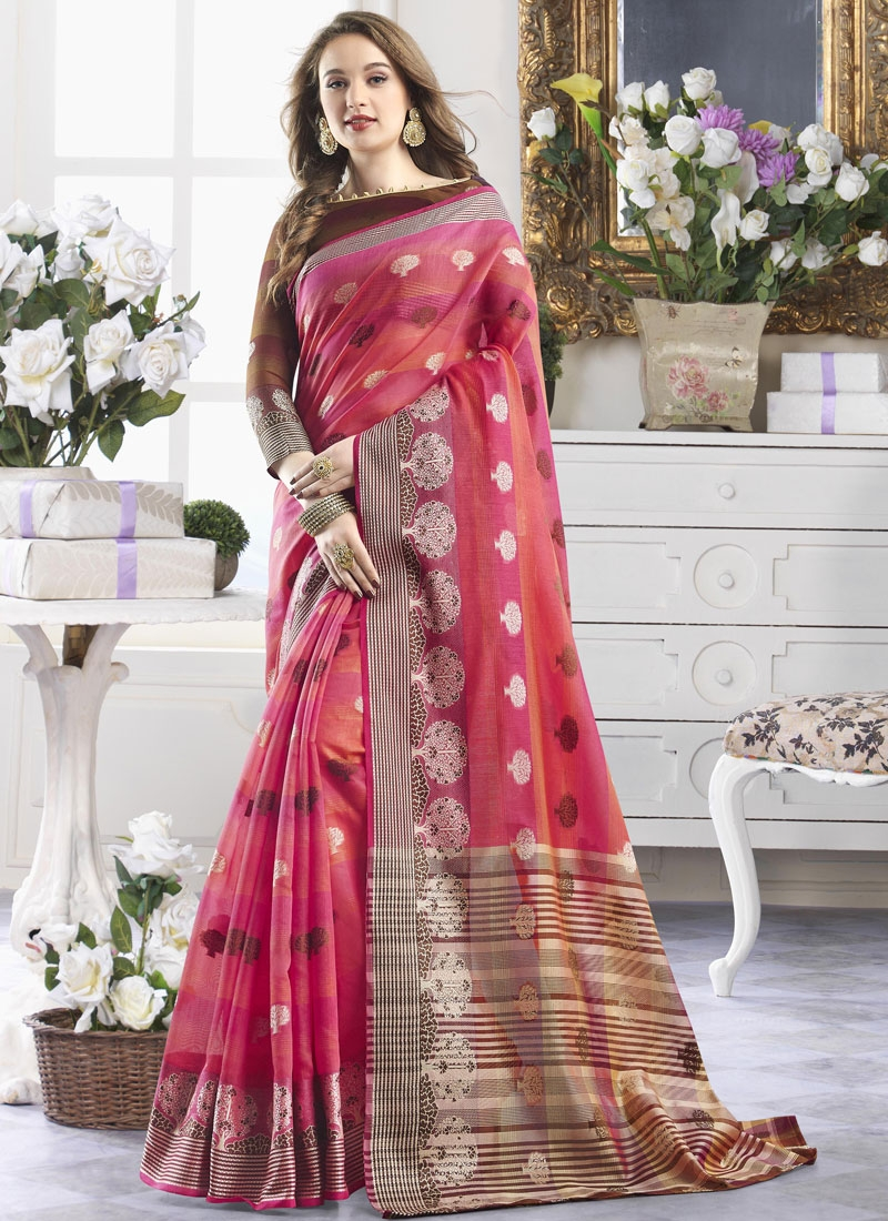 Cotton Silk Hot Pink and Salmon Designer Contemporary Style Saree For Casual