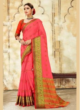 Cotton Silk Hot Pink Woven Designer Traditional Saree